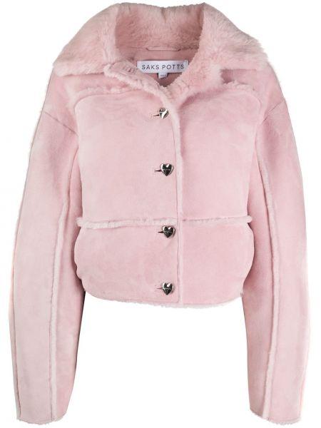 Розовая кожаная куртка оверсайз Saks Potts