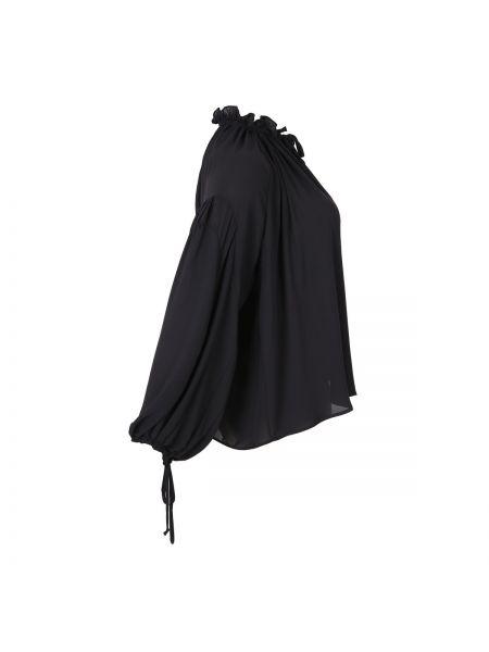 Черная блузка с длинным рукавом с оборками с вырезом оверсайз Mat Fashion