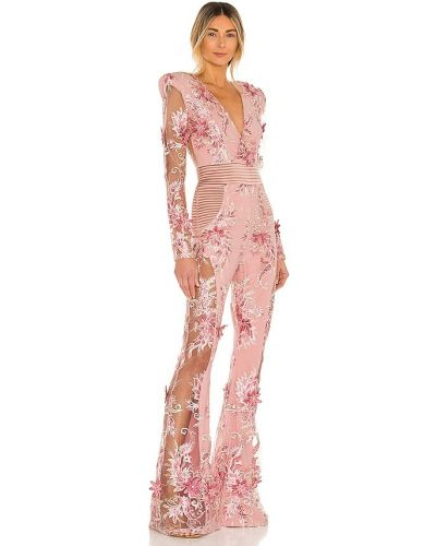 Różowy kombinezon z siateczką pikowany Zhivago