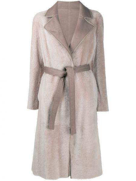Кожаное пальто двустороннее с запахом Blancha
