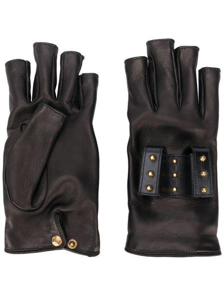 Skórzany rękawiczki bez palców czarny Gucci