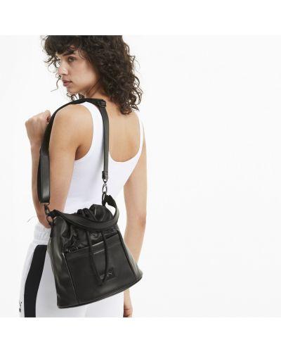 Сатиновая мягкая черная спортивная сумка на шнурках Puma