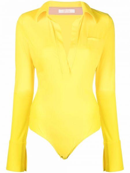 Желтая блузка с V-образным вырезом Ssheena