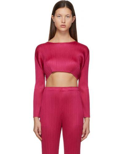 С рукавами розовый длинный свитер с воротником Pleats Please Issey Miyake