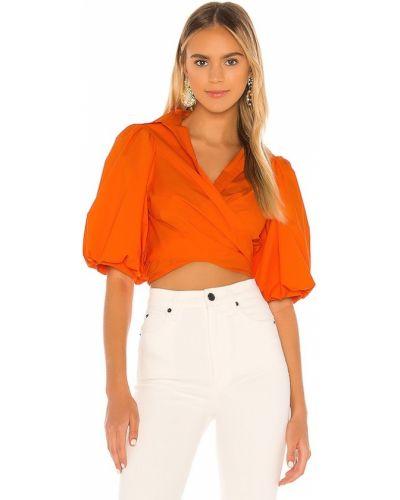 Pomarańczowa bluzka kopertowa bawełniana Petersyn