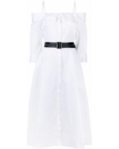 Открытое с рукавами белое платье миди Karl Lagerfeld