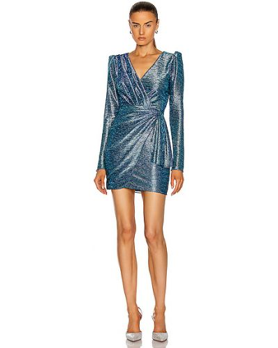 Синее платье мини с декольте с подкладкой Patbo