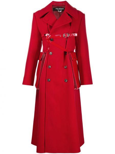 Красное шерстяное длинное пальто двубортное Junya Watanabe