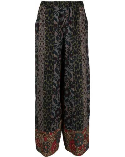 Шелковые зеленые брюки свободного кроя Pierre-louis Mascia