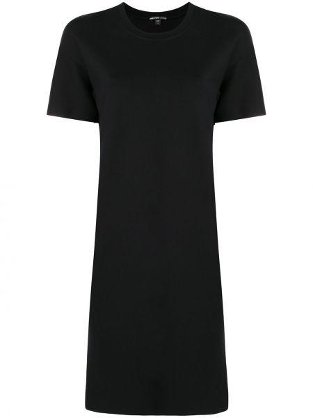 Черное прямое футбольное платье мини с вырезом James Perse