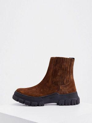 Коричневые кожаные ботинки Weekend Max Mara