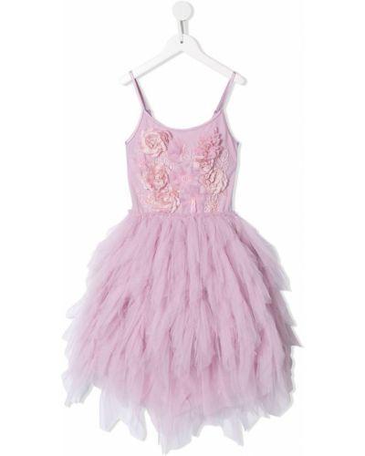 Фиолетовое платье из фатина без рукавов с вырезом Tutu Du Monde