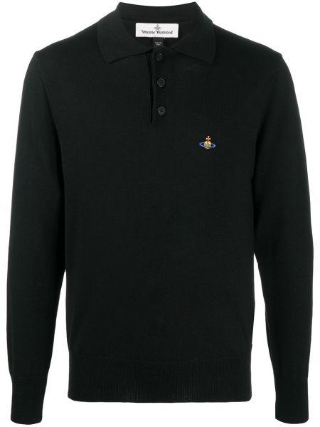 Wyposażone czarny koszula z haftem z kołnierzem Vivienne Westwood