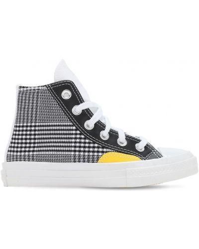 Ażurowy czarny sneakersy na sznurowadłach Converse