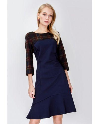 Повседневное платье осеннее синее мадам т