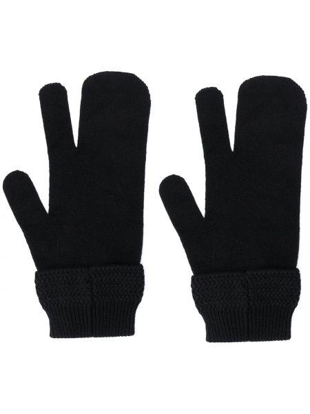 Trykotowy wełniany czarny rękawiczki Maison Margiela