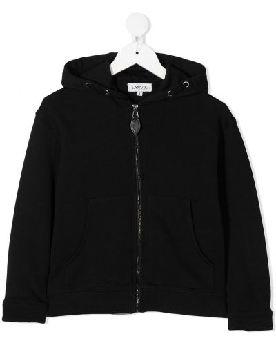 С рукавами классическая черная куртка с капюшоном Lanvin Enfant
