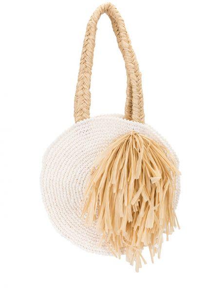 Пляжная белая соломенная пляжная сумка 0711