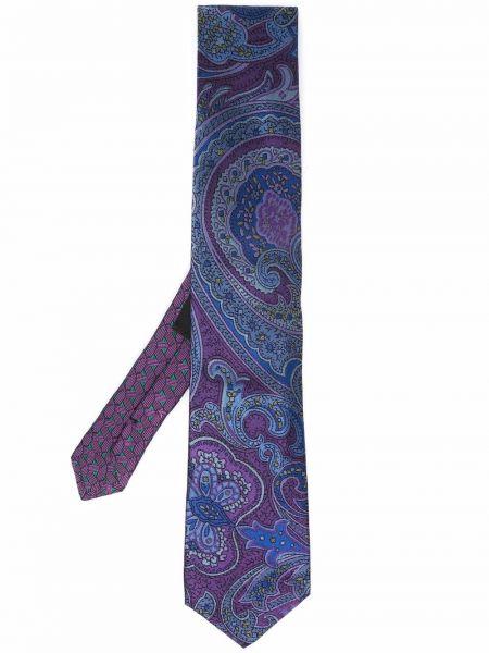 Krawat z printem - fioletowy Etro