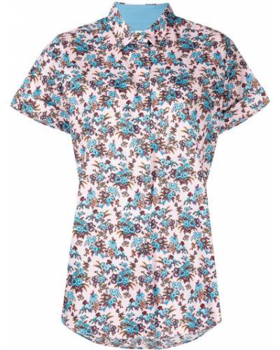 Шелковая синяя рубашка с короткими рукавами Paul Smith
