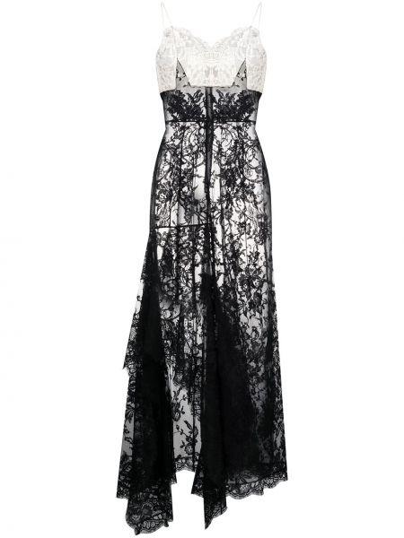 Черное ажурное платье на бретелях с V-образным вырезом Alexander Mcqueen