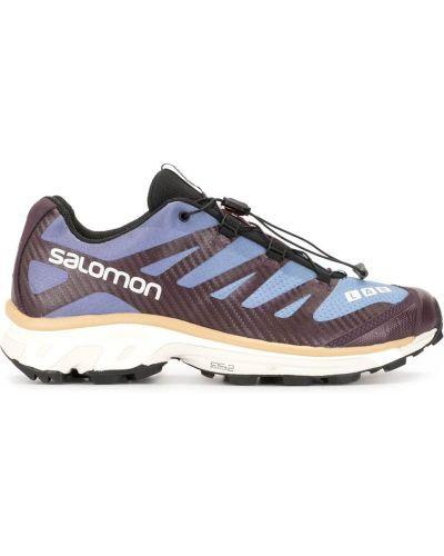 Хлопковые фиолетовые кроссовки с нашивками сетчатые Salomon S/lab
