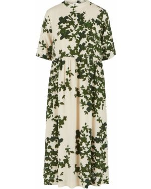 Бежевое расклешенное платье миди Ichi