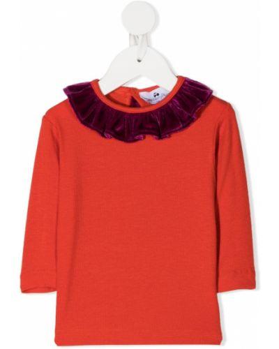 Оранжевая блуза из вискозы с оборками на пуговицах Raspberry Plum