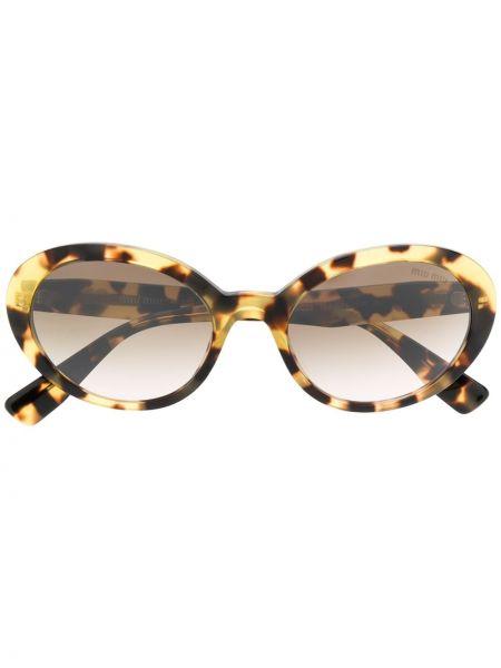 Прямые муслиновые солнцезащитные очки хаки Miu Miu Eyewear