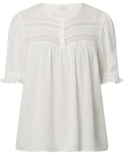 Biała bluzka w paski z falbanami Vila