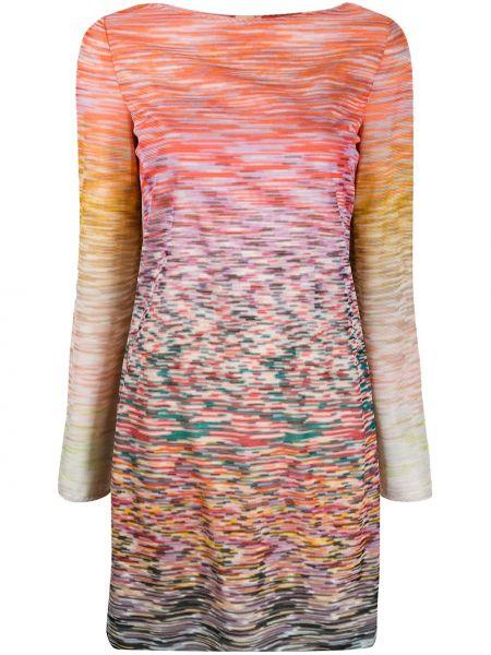 Прямое шелковое розовое платье на молнии Missoni