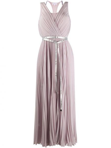 Розовое платье миди с V-образным вырезом без рукавов из вискозы Patrizia Pepe