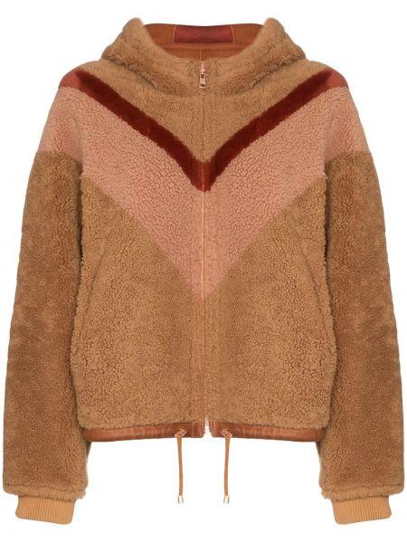 Куртка с капюшоном мятная двусторонняя с манжетами на молнии See By Chloé