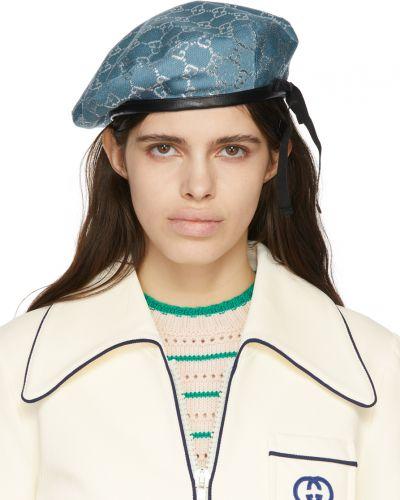 Niebieski beret wełniany Gucci