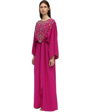 Розовое платье макси с вышивкой с декольте круглое Marchesa
