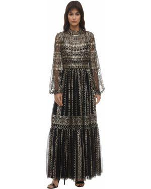 Платье миди из фатина с пайетками Ingie Paris