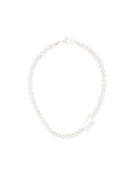 Biały naszyjnik perły srebrny Magda Butrym