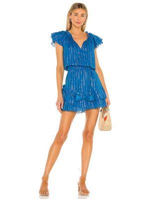 Синее платье мини с декольте с люрексом Karina Grimaldi