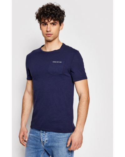 T-shirt granatowy Guess
