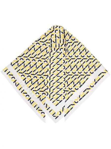 Желтый шелковый платок с декоративной отделкой Kenzo