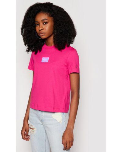 T-shirt - różowa Calvin Klein Jeans