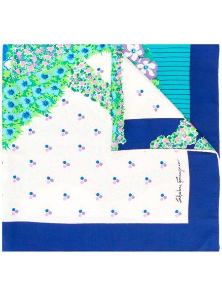 Шелковый синий шарф Salvatore Ferragamo Pre-owned
