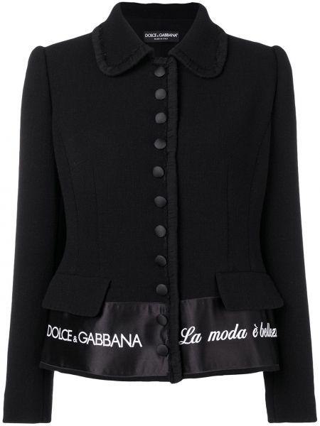Классическая черная куртка с надписью с подкладкой Dolce & Gabbana