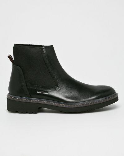 Кожаные ботинки высокие черные Strellson