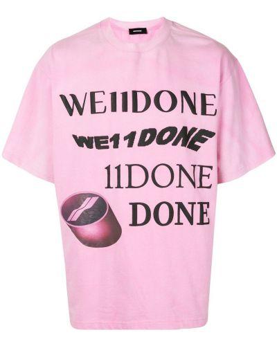 Прямая хлопковая розовая футболка с сеткой We11done