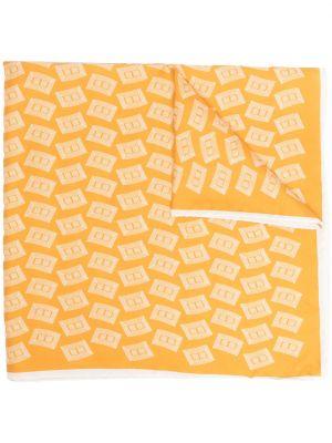 Żółty szalik z jedwabiu z haftem Boglioli