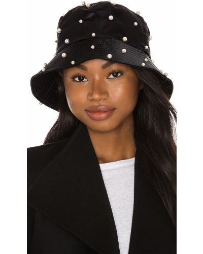 Czarny kapelusz bawełniany perły Jennifer Behr