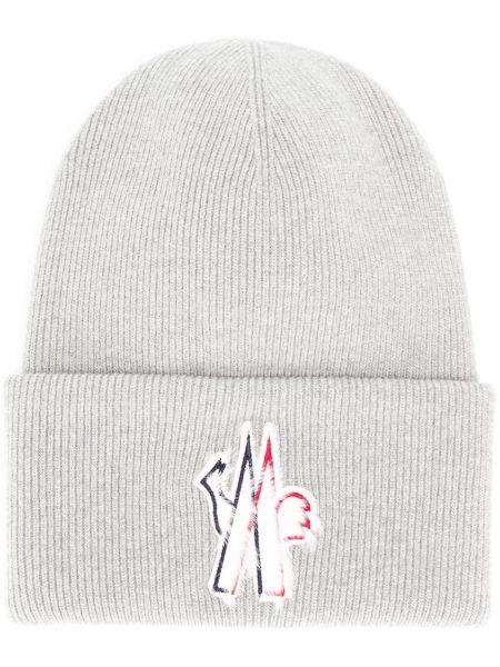 Prążkowana czapka wełniana z haftem Moncler Grenoble