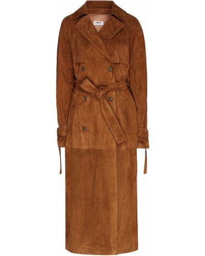 Коричневое длинное пальто на пуговицах с лацканами Izeta