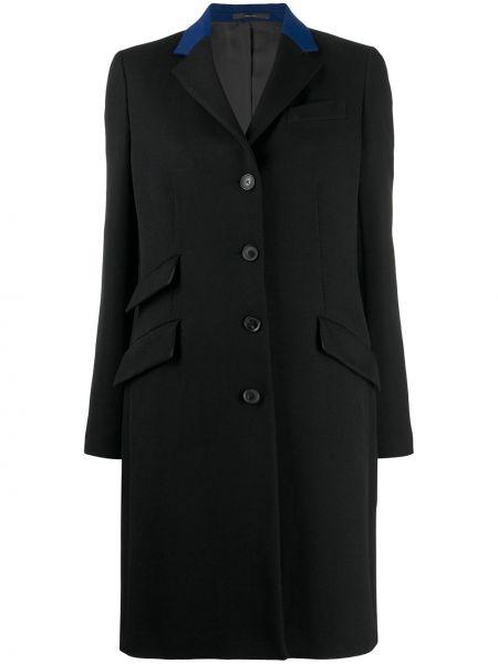 Черное однобортное пальто классическое с капюшоном Paul Smith
